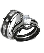 His Hers 4 Piece AAA Cz Wedding Ring Set Black ... - $29.99