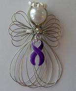 Purple Ribbon Awareness Angel Ornament Handmade - $7.65