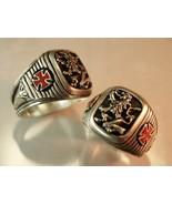 Heraldic Lion Knights Templar Cross ring  sterl... - $99.99