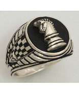 Knights Chess piece Mens Signet ring II Sterlin... - $98.01