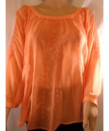Orange Sheer Crepe Top Ladies Large | LC Lauren... - $24.95