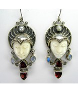 Hand Carved Goddess with Moonstone Sterling Sil... - $195.02