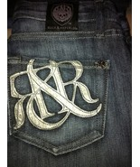 NWOT Rock & Republic leather logo denim jeans 2... - $50.00