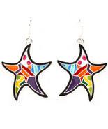Colorful Starfish Star Enamel Metal Dangle Earr... - $11.85