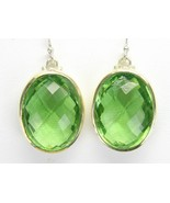 Cushion faceted Oval Green Topaz Sterling Silve... - $83.52