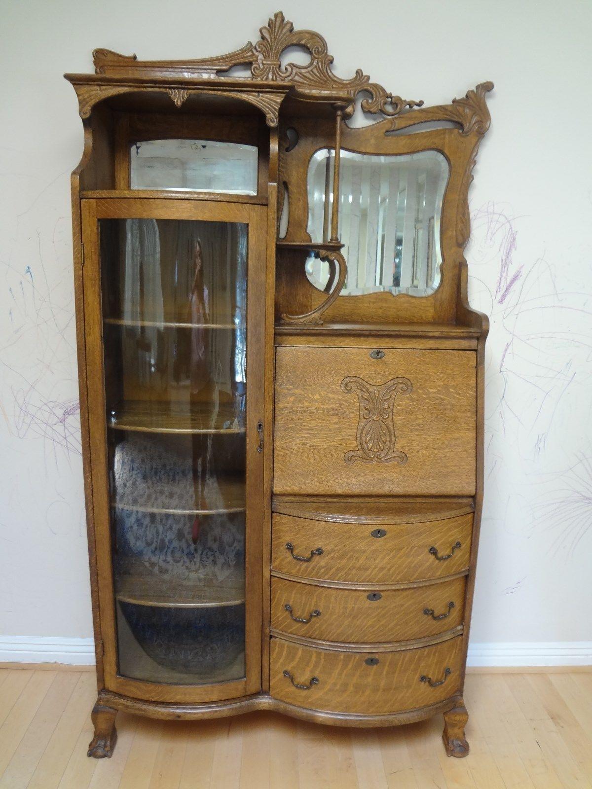 Antique American Oak Secretary Desk Display Unit Ca