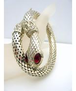 Vintage Signed Silver Tone Mesh Snake Bracelet ... - $87.08