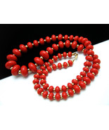 Signed NAPIER Necklace Cherry Red Plastic Beads... - $39.59