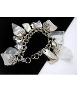 Vintage Lucite Chunk Charm Bracelet Silver Tone... - $29.65