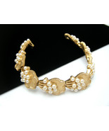 Crown Trifari Vintage Bracelet Faux Pearls Gold... - $59.39