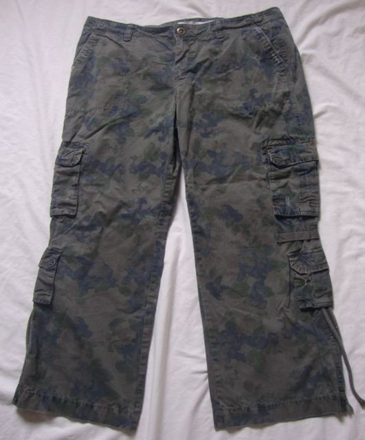 New Womens Green Camouflage Low Rise Slim Skinny Stretch Combat Trousers