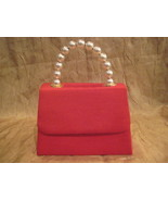 Retro Red Handbag With White Faux Pearls Handle  - $22.50