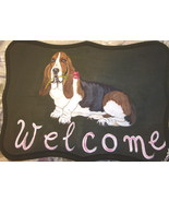 Basset Hound Dog Custom Painted Welcome Sign Pl... - $29.95