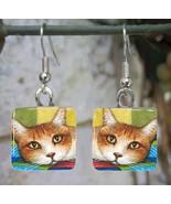 Handmade Glass Earrings square 20mm Cat 251 art... - $12.00