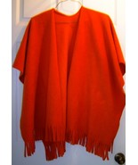 One Size Fleece Poncho with Fringe Burnt Orange - $14.95
