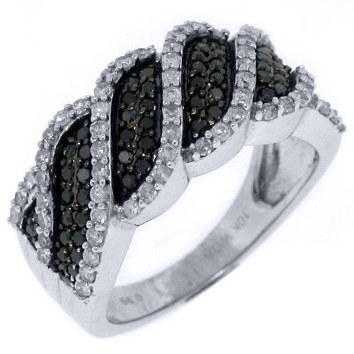 WOMENS BLACK DIAMOND RING WEDDING BAND RIGHT HAND 1 CARAT ROUND CUT WHITE GOLD