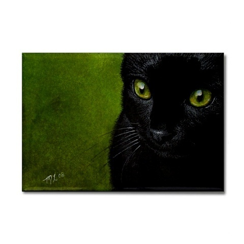 Black Cat Art Refrigerator Magnet Melody Lea Lamb