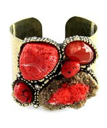 Red Turquoise Chunky Cuff Bracelet Armor Crysta... - $23.99