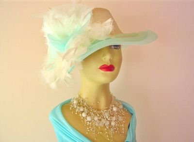 Ladies Aqua Ivory Cream Fashion Feathered HAT Tea HATS