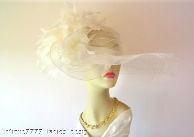 IVORY LIFTUP BRIM KENTUCKY DERBY HAT Ladies Church HATS