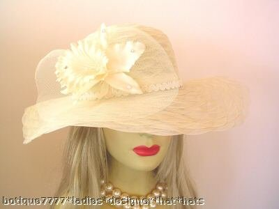 LADIES IVORY WEDDING KENTUCKY Derby HAT CHURCH HATS AK