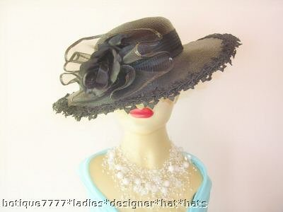 Black Fashion Ladies Designer Wedding Hat Church Hats