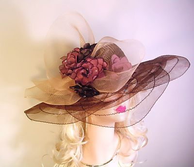 Brown Wide Brim Designer Dress Hat Church Fashion Hats