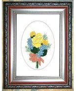 Friendship Flowers floral cross stitch card cha... - $5.40