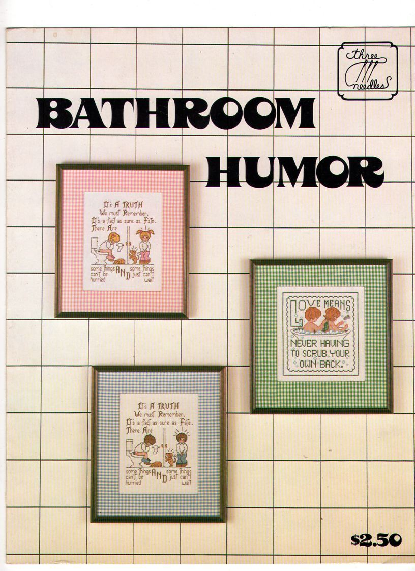Cross stitch bathroom humor pattern booklet cross stitch for Bathroom cross stitch patterns free