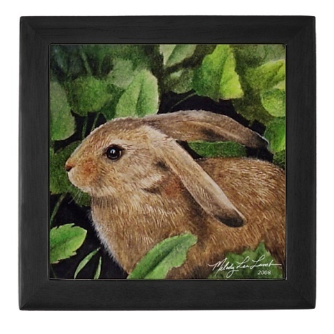 ACEO Storage Hard Wood Jewelry Box Bunny Art