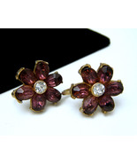 Deco Era Rhinestone Earrings Purple Ovals Gold ... - $19.79