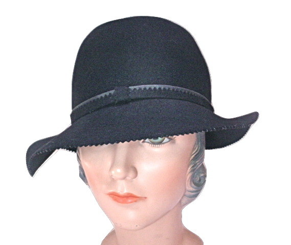 Vintage Pappagallo Black Wool Fedora Ladies Hat Geo. W. Bollman & Co.