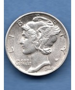 1944 D Mercury Dime AU FB Silver US Coin - $10.00