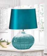 Teal Blue Table Lamp Round Ceramic Base - $55.00