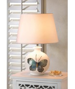 White Ceramic Table Lamp With Butterfly Picture - $55.00