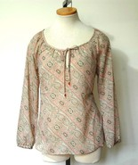ANN TAYLOR LOFT Peach Tan Brn Polyester Sheer B... - $11.50