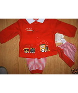 Red MY FIRST CHRISTMAS Train Stripe LS Top Snap... - $9.99
