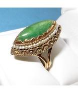 Vintage 14K Gold Marquise Jadeite Jade with See... - $649.00