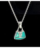 Sterling Silver Enamelled Purse Pendant With Chain - $95.00
