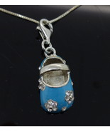 Sterling Silver Enamelled Baby Shoe Pendant wit... - $94.00