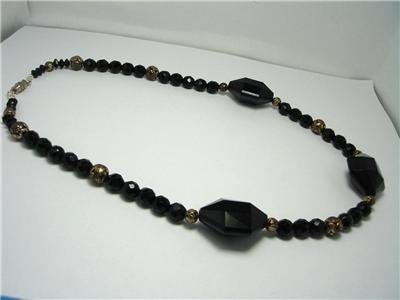 Vintage Black Glass French Jet  amp  Lucite Necklace Goth