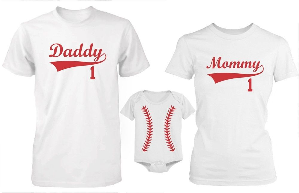 Daddy Mommy and Baby Matching Baseball T-Shirt and Onesie Set - Family Shirts - T-Shirts