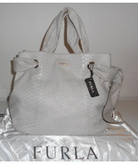 FURLA HANDBAG TAUPE REPTILE EMBOSSED PYHON LEATHER SATCHEL TOTE BAG BOW NWT $595