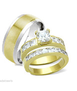 HIS HERS 3 PIECE Cz MEN'S WOMEN'S GOLD PLATED W... - $27.99