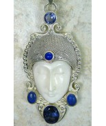 Hand Carved Goddess with Lapis and faceted Blue... - $141.12