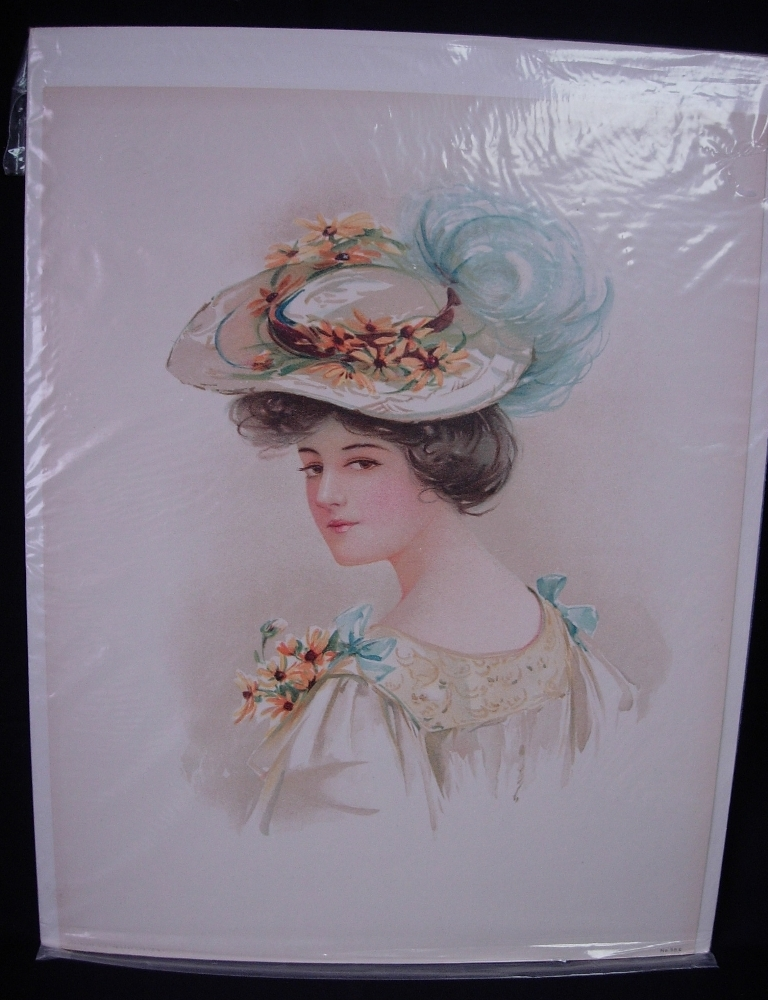 Maud Stumm Lady With Hat Series Lady with Yellow Hat Dated 1908 No. 98 E