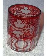 Old Red Ruby Cranberry Etched Cut Grape Vine Gl... - $10.00