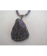 Iris Luster Druzy Pendant Necklace with  Amethy... - $39.99