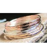 Handmade set of 9 skinny stack rings 14K gold f... - $97.02