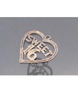 Vintage Sterling Silver Sweet 16 Heart Charm Pe... - $6.00